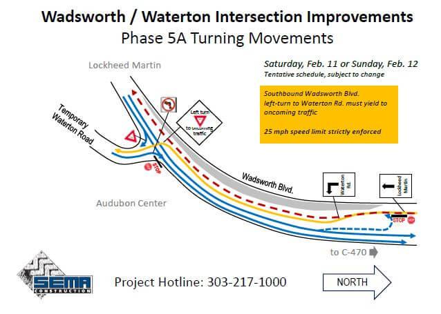 Wadsworth/Waterton Intersection new lane configuration Feb 11-12